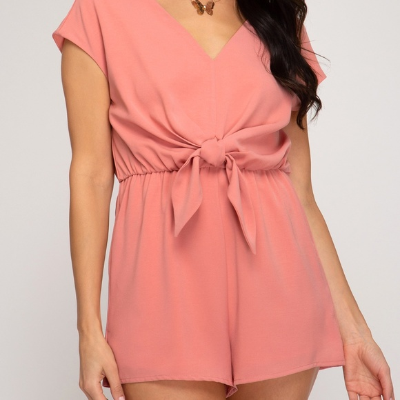 Pants - DROP SHOULDER WOVEN ROMPER WITH FRONT TIE DETAIL